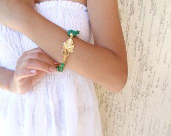 Green Jade Bracelet, Gold Plated  Bracelet, Bohemian Silk Bracelet, Leaf Motif Bracelet