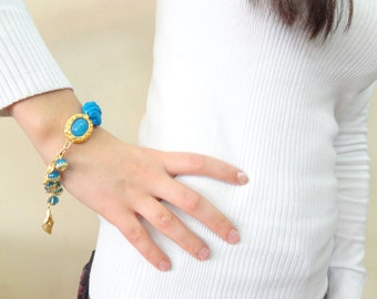 Dark Turquoise Gold Bracelet, Charm Bracelet , Gem Stones Bracelet, Gift For Mothers, Best Friend Birthday