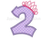 Number Two Tiara Crown 2nd Birthday Applique Machine Embroidery Design girl princess purple second INSTANT DOWNLOAD