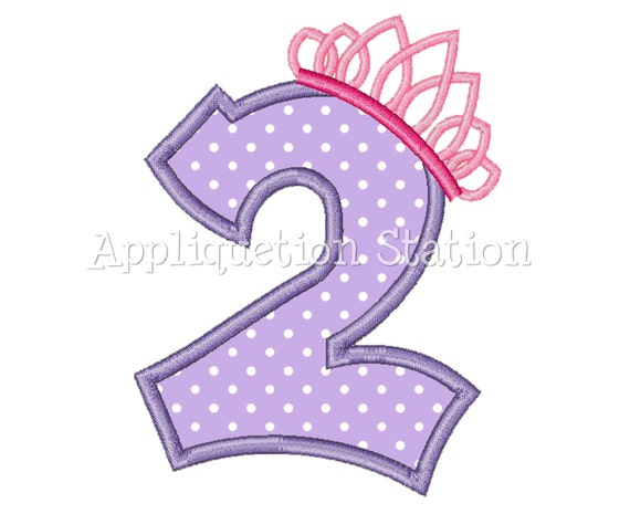 Number Two Tiara Crown 2nd Birthday Applique Machine