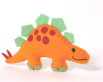Felt Plushie Hand sewing Pattern PDF. Complete instructions to make Steggles the Stegosaurus Dinosaur. Instant download.