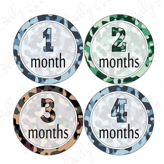 Boy Monthly Baby Stickers, 1 to 12 Months, Monthly Bodysuit Stickers, Baby Age Stickers, Camouflage  (009-3)