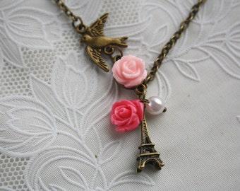 Love paris tower eiffel antique rose pendant necklace vintage flying bird pearl charm romantic bronze jewellery accessory free gift box