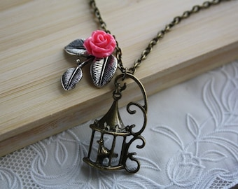 Birdcage necklace, flower vintage charm antique pendant, rose necklace jewellery shabby chic floral pink bronze accessory