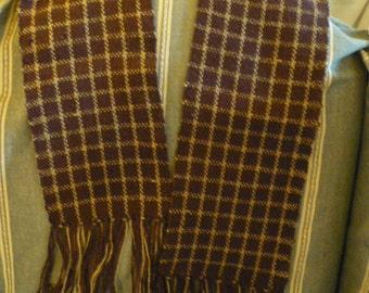Handwoven royal purple and silver grey scarf / muffler