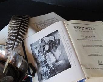 Vintage books decor / books on etiquette / library decor