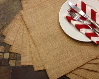Burlap Placemats - set of 6 - Holiday Table