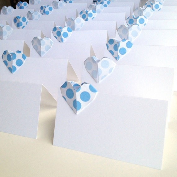 items similar to origami heart place cards polka dot