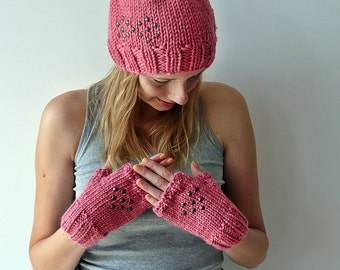 Pink Winter Hat and mittens set studded