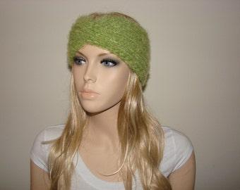 Green Knit Turban Headband, Wool Blend Knit Headband, Luxury Soft Knitted Headband Knit Twisted Headband Winter Woman Fashion Ski ear Warmer