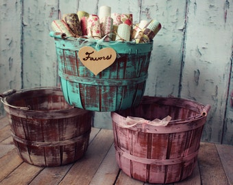 Wedding favor basket-turquoise weathered basket-apple barrel-wood basket-bucket-barrel-newborn photo prop-photography-newborn-Easter