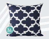 Navy Blue Moroccan Quatrefoil Lattice Trellis Pillow Cover Sham - 20 x 20 and More Sizes - Zipper Closure