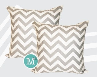Grey Chevron Pillow Covers Shams - 20 x 20 and More Sizes - Zipper Closure