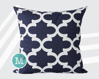 Navy Blue Moroccan Quatrefoil Lattice Trellis Pillow Cover Sham - 20 x 20 and More Sizes - Zipper Closure