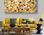 ON SALE now XXL 3x5 feet Acrylic Painting 3D impasto abstract flowers gray & yellow theme for nursery or Living room on 36x60 canvas