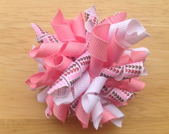 Ready to ship 25% OFF Valentine's Day korker hair bow, heart korker bow, pink korker bow, pink hair bow, pink bow