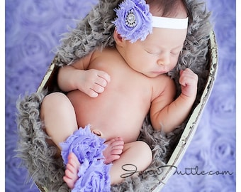 Newborn Anklets, Barefoot Sandle, Barefoot Sandle Set, Shabby Flower Barefoot Sandles, Anklet Set, Lavender, Photo Prop, 1st Birthday,