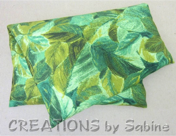 Microwave Corn Pillow with washable cover / Heating Pack / Therapy Pad / green nature forest wooland leaves natural / READY TO SHIP (147)
