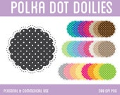 Polka Dot Doilies Clip Art - Digital Clipart for Personal & Commercial Use