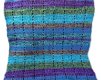 "Crochet baby blanket chunky crochet baby afghan peacock teal aqua violet lavender celadon 28"" x 32"" READY TO SHIP"