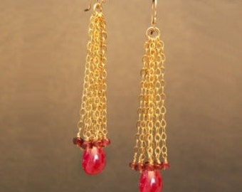Ruby chain tassels earrings Venus 188