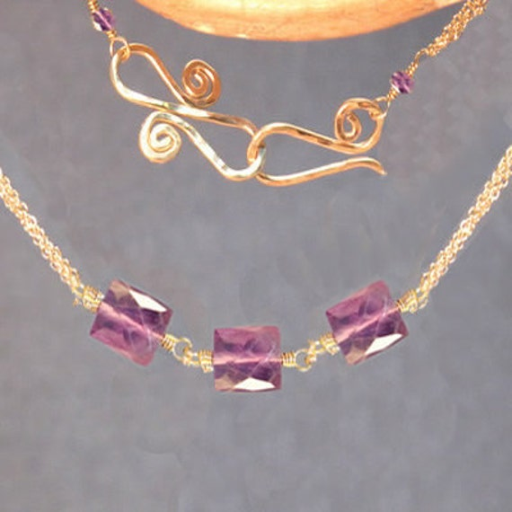 Large amethyst beads on multi-chain Necklace 286