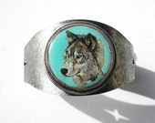 grey wolf wearable art cuff bracelet