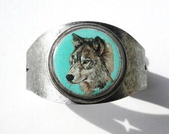 grey wolf wearable art cuff bracelet