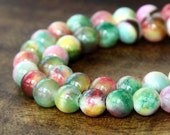 Mountain Jade Beads, Multicolor, 6mm Round - 15.5 Inch Strand - eMCJ-419-6
