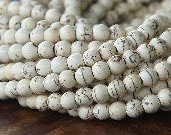 Cream Magnesite Beads, 7mm Round - 16 inch strand - eGR-MG006-8