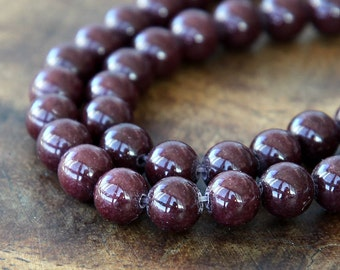Mountain Jade Beads, Chocolate Brown, 6mm Round - 15.5 Inch Strand - eMJR-N05-6