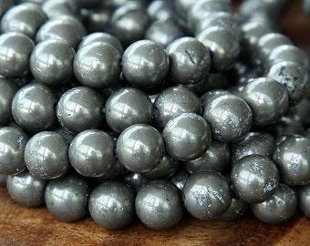 Pyrite Beads, 8mm Smooth Round - 15 inch strand - eGR-PY003-8