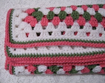 Baby Crocheted Blanket Afghan - Pink, Green, White Granny Square Throw Stroller Cover - CLEARANCE SALE