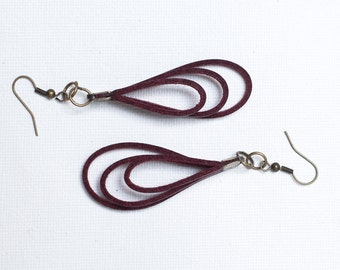Burgundy Leather Earrings 3inch ( 7, 5 cm), gift for her, Leather earrings
