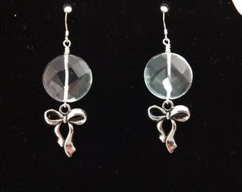 Quartz Bow Earrings with Sterling Silver