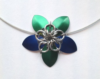 Blue and Green Chainmaille Flower Necklace