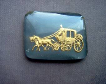 Vintage Glass Gold & Gray Intaglio of  a Stagecoach