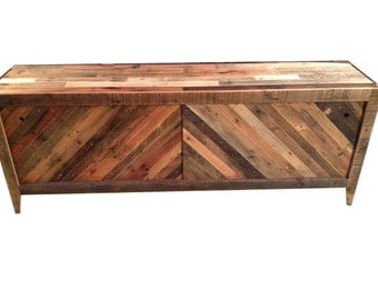 Beautiful Credenza Sliding Doors w/ Chevron Pattern FREE SHIPPING