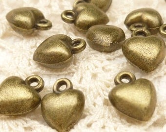 Tiny, Simple, Puffed Heart Charms, Antique Bronze (8) - A20