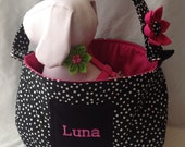 Black And White Polka Dot Pet Carrier W/Embroidered Dogs Name - Available In Pink, Green And Blue Lining  -  For Dogs Up To Approx. 6 lb