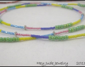 Handmade Eyeglass Leash - Colorful Seed beads and Sterling