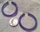 purple jade hoops extra large with silver caps