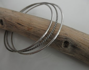 Set of 3 oxidized Sterling silver bangle bracelet
