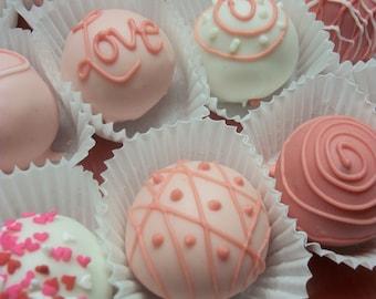 Valentines Gift Red Velvet Truffle cake balls 1DZ hand Made  White Chocolate truffle balls Wedding Favor