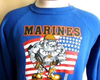 vintage 80s Awesome Marines bulldog soldier illustration royal blue fleece men women unisex graphic sweatshirt, US flag, made in the usa
