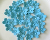 30 GUM PASTE Marine Blue Blossoms /  Cake Topper / Cupcake Decorations - lenabender48