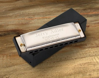Engraved Harmonica - Personalized Ring Bearer Gift - Groomsmen Gift - Kids Gift  (FC414)