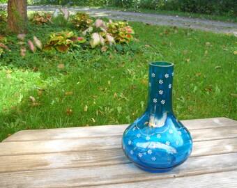 Sapphire Blue Vase w/ Ground Rim - Hand-Blown - Antique Onion Bottle