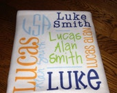 DOUBLE SIDED-Personalized baby blanket, Receiving Blanket, Birth Announcement, Full Name, DOUBLE sided
