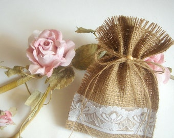 100 Burlap Bags,Rustic favor bags with  lace,Rustic eco friendly bags
